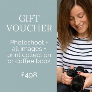 Gift voucher for family photoshoot Orpington all images plus album or mounted prints