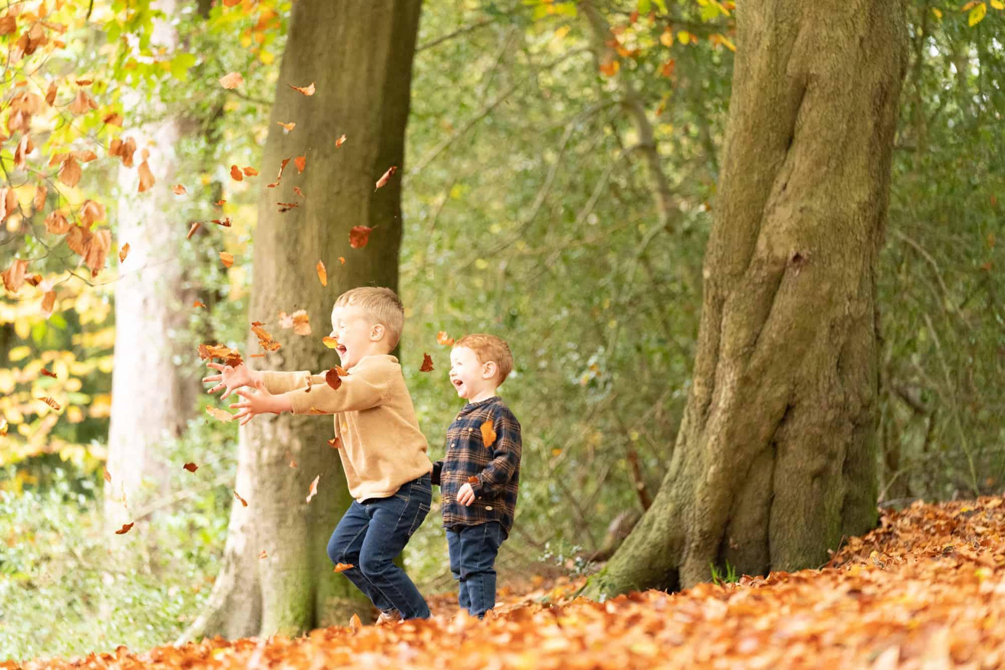 Bromley family photographer capturing autumn fun